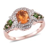 Salamanca Fire Opal, Russian Diopside, White Zircon 14K RG Over Sterling Silver Ring (Size 6.0) TGW 2.02 cts.