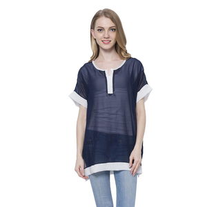 Navy 100% Polyester Short Sleeve Sheer Blouse (Medium/Large)
