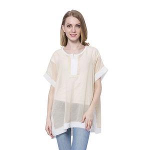 Cream 100% Polyester Short Sleeve Sheer Blouse (Medium/Large)