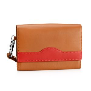Tan and Red 100% Genuine Leather RFID Wallet with Wristlet (6x4.5 in)
