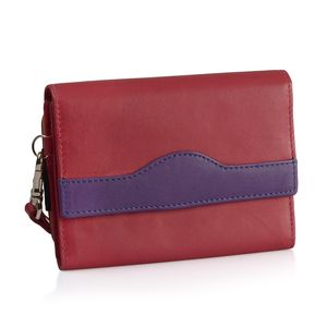 Fuchsia and Purple 100% Genuine Leather RFID Wallet (5.9x4.1 in)