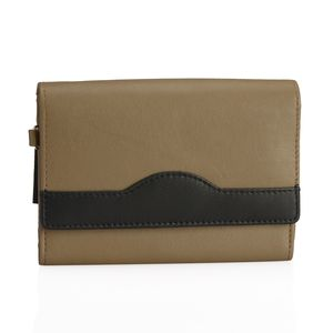 Taupe and Black 100% Genuine Leather RFID Wallet (6x4 in)
