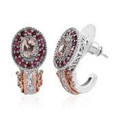 Marropino Morganite, Pink Tourmaline, White Topaz 14K RG and Platinum Over Sterling Silver J-Hoop Earrings TGW 1.97 cts.