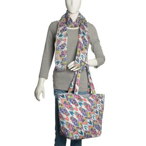 Hand Printed Multi Color Splash Art Canvas Tote (17x7x12.5 In) with Matching 100% Viscose Scarf (70x40 in)