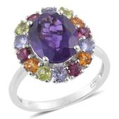 Lusaka Amethyst, Multi Gemstone Platinum Over Sterling Silver Ring (Size 7.0) TGW 6.310 cts.