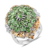 TLV Tsavorite Garnet, Cambodian Zircon 14K YG and Platinum Over Sterling Silver Ring (Size 8.0) TGW 6.170 cts.
