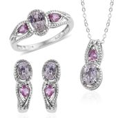 XIA Kunzite, Madagascar Pink Sapphire Platinum Over Sterling Silver Earrings, Ring (Size 6) and Pendant With Chain (20 in) TGW 4.75 cts.