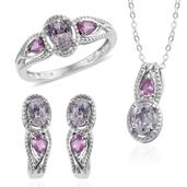 XIA Kunzite, Madagascar Pink Sapphire Platinum Over Sterling Silver Earrings, Ring (Size 7) and Pendant With Chain (20 in) TGW 4.750 cts.