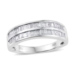 Diamond Platinum Over Sterling Silver 2 Row Ring (Size 9.0) TDiaWt 1.00 cts, TGW 1.00 cts.