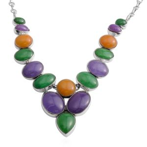 Burmese Purple Jade, Multi Gemstone Sterling Silver Statement Necklace (18 in) TGW 146.06 cts.