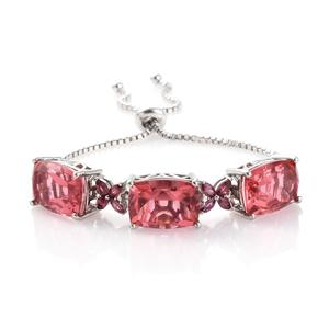 Salmon Quartz, Orissa Rhodolite Garnet Platinum Over Sterling Silver Bracelet (Adjustable) TGW 23.70 cts.