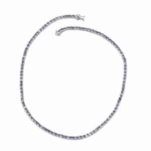 TLV Tanzanite Platinum Over Sterling Silver Tennis Necklace (18 in) TGW 21.000 Cts.