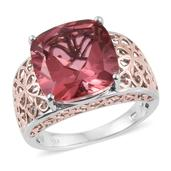 Salmon Quartz 14K RG and Platinum Over Sterling Silver Ring (Size 8.0) TGW 11.00 cts.