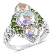 Mercury Mystic Topaz, Russian Diopside Platinum Over Sterling Silver Ring (Size 9.0) TGW 5.20 cts.