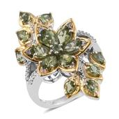 Forte Dauphin Apatite, Cambodian Zircon 14K YG and Platinum Over Sterling Silver Floral Elongated Ring (Size 6.0) TGW 4.60 cts.