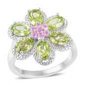Hebei Peridot, Madagascar Pink Sapphire Sterling Silver Flower Ring (Size 6.0) TGW 3.50 cts.