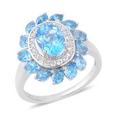 Swiss Blue Topaz, White Zircon Sterling Silver Ring (Size 10.0) TGW 5.25 cts.
