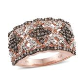 Champagne Diamond, Diamond 14K RG Over Sterling Silver Ring (Size 10.0) TDiaWt 1.02 cts, TGW 1.02 cts.