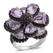 Rose De France Amethyst, Thai Black Spinel Sterling Silver Ring (Size 5.0) TGW 8.240 cts.