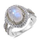 Sri Lankan Rainbow Moonstone, Cambodian Zircon, Green Sapphire Platinum Over Sterling Silver Ring (Size 9.0) TGW 9.100 cts.