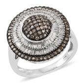 Champagne Diamond, Diamond Platinum Over Sterling Silver Ring (Size 10.0) TDiaWt 1.00 cts, TGW 1.00 cts.