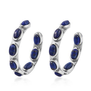 TLV Lapis Lazuli Stainless Steel J-Hoop Earrings TGW 10.00 cts.