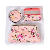 Peach Floral Print Faux Leather Coin Wallet, Lipstick Case and Compact Mirror TGW 10.00 cts.