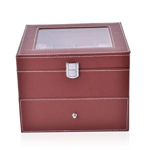 2-Tier Brown Faux Leather Watch Box with Drawer-Hold 16 (8x8x8 in)