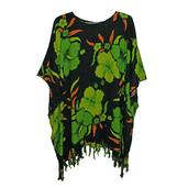 Black and Green Printed Rayon Poncho