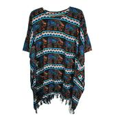 Multi Color Rayon Poncho with Gajah Salur Motif Work