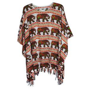 Elephant Print Rayon Poncho with Gajah Salur Motif Work