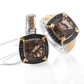 Delma Brazilian Smoky Quartz, Thai Black Spinel 14K YG and Platinum Over Sterling Silver Ring (Size 10) and Pendant With Chain (20 in) TGW 14.16 cts.