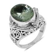 Bali Legacy Collection Green Amethyst Sterling Silver Ring (Size 5.0) TGW 5.12 cts.