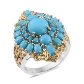 Arizona Sleeping Beauty Turquoise 14K YG and Platinum Over Sterling Silver Openwork Ring (Size 5.0) TGW 6.13 cts.
