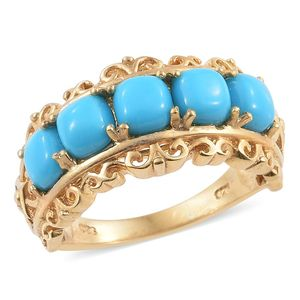 Arizona Sleeping Beauty Turquoise 14K YG Over Sterling Silver Openwork Ring (Size 7.0) TGW 3.05 cts.