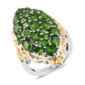 Dan's Collector Deal Russian Diopside 14K YG and Platinum Over Sterling Silver Elongated Ring (Size 9.0) TGW 8.31 cts.