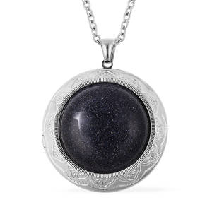 Blue Goldstone Stainless Steel Locket Pendant With Chain (24 in) TGW 50.00 cts.