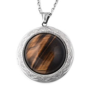 South African Tigers Eye Stainless Steel Locket Pendant With Chain (24 in) TGW 50.00 cts.
