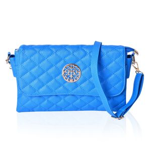 Royal Blue Quilted Faux Leather Flap Over Crossbody Barrel  Bag (11x7 in)