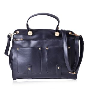 Black Faux Leather Satchel with Removable Shoulder Strap (11x4x8.5 in)