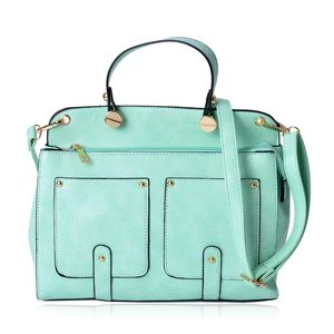J Francis - Seafoam Faux Leather Satchel with Removable Shoulder Strap (11x4x8.5 in)