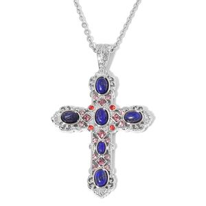 Lapis Lazuli, Purple and Red Austrian Crystal Stainless Steel Cross Pendant With Chain (20 in) Total Gem Stone Weight 8.00 Carat