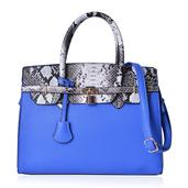 J Francis - Blue and Snake Skin Pattern Faux Leather Structure Bag with Foot Base and Removeable Shoulder Strap (14x6x10 in)