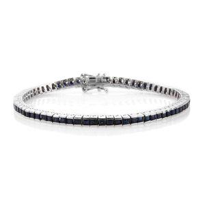 Kanchanaburi Blue Sapphire Platinum Over Sterling Silver Bracelet (8.00 In) TGW 8.84 cts.