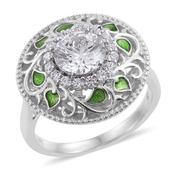 J Francis - Platinum Over Sterling Silver Openwork Ring (Size 7.0) Made with SWAROVSKI ZIRCONIA TGW 4.22 cts.