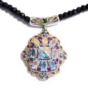 Mercury Mystic Topaz, Multi Gemstone 14K YG and Platinum Over Sterling Silver Necklace With Chain (18 in) TGW 91.78 cts.
