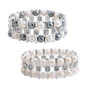 Simulated Pearl, Austrian Crystal Silvertone Set of 2 Bracelets (Stretchable)