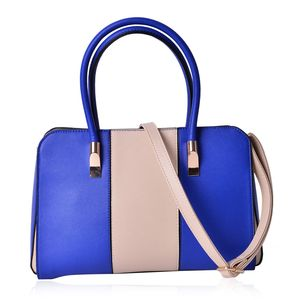 Blue and Beige Faux Leather Structured Bag with Standing Studs and Removable Strap (13x5.5x9 in)
