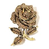 Champagne Color Austrian Crystal Brasstone Rose Brooch