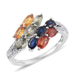Multi Sapphire Platinum Over Sterling Silver Bypass Ring (Size 5.0) TGW 3.32 cts.